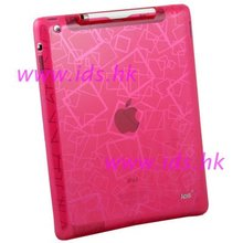 Pink TPU Cloud Pattern Jelly Case + Stylus For iPad 2
