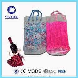 Portable Plastic Beads Wine/ Beer Bottle Cooler Bag