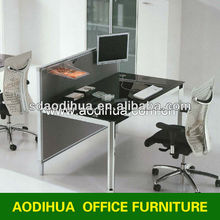 Small size with partition glass top computer table/office computer desk LA-007