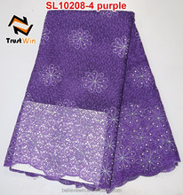 african embroideried chemical lace fabric in purple for wedding