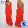 China wholesale clothing long maxi dress for women backless dress in red