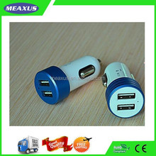 Fireproof Aluminum Coat 5V/3.4A(1.0+2.4 A) USB Dual Ports Car Phone Charger for App IP, Android Smart Phones and Tablets