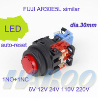 led light switch with various color dia.30mm round high head push button switch auto-reset LED lamp 6V 12V 24V 220V
