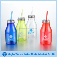 New Product 19oz Food Grade Plastic Drink Bottle with Tin Lid and Straw