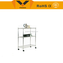 Metal chrome wire mesh Display stand with wheels