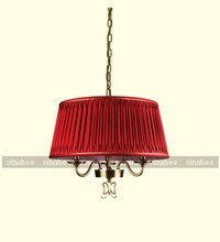 Butterly love series 3 lites brass ceiling lamps with red color lamp shade