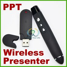 Red Laser Pointer Pen Remote Office 2 In 1 PPT Tool Black USB Wireless PPT Presenter