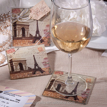 Factory Price Vintage Paris Themed Glass Coasters,Decal sticker glass coasters,wine bottle coaster