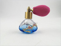10ml light blue color printing with wintersweet glass bottle with13mm perfume bulb pump sprayer