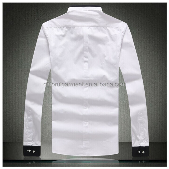 Latest Design Contrast Collar And Cuff Long Sleeve White