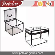 Black aluminum frame see-through acrylic jewelry display box,aluminum box,aluminum acrylic box