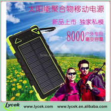 Solar mobile power supply The new three outdoor polymer 8000 ma phone charger charging treasure