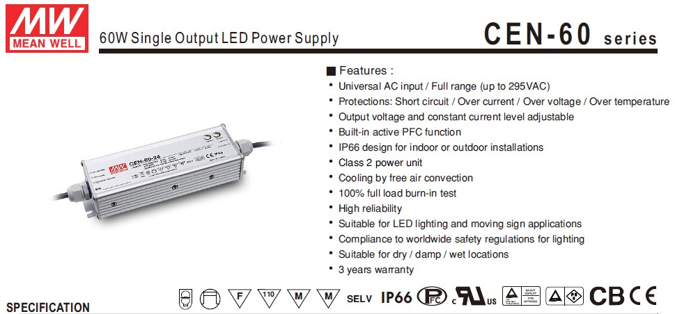 Original MEANWELL CEN-60 60W Single Output LED Power Supply LED Driver