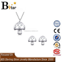 So cute! 925 silver Mushroom shape young girl earring jewelry set in latest design