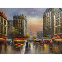 Impressionist Home Decor Hot Selling Drawing Of French Paris Street Scene Oil Painting Landscape Wall Art