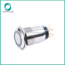 19mm Silver Alloy Momentary/Latching waterproof ring illuminated push button micro switch led