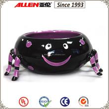 "7.9"" w black spider shape ceramic bowl, Halloween theme ceramic candy bowl"