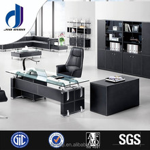 F-06 Modern tempered glass i shaped black high gloss executive luxury wooden office reception desk office desk with side table