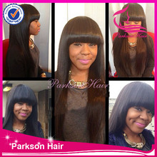 2014 new style glueless mongolian hair topper straight full lace wigs with fringe