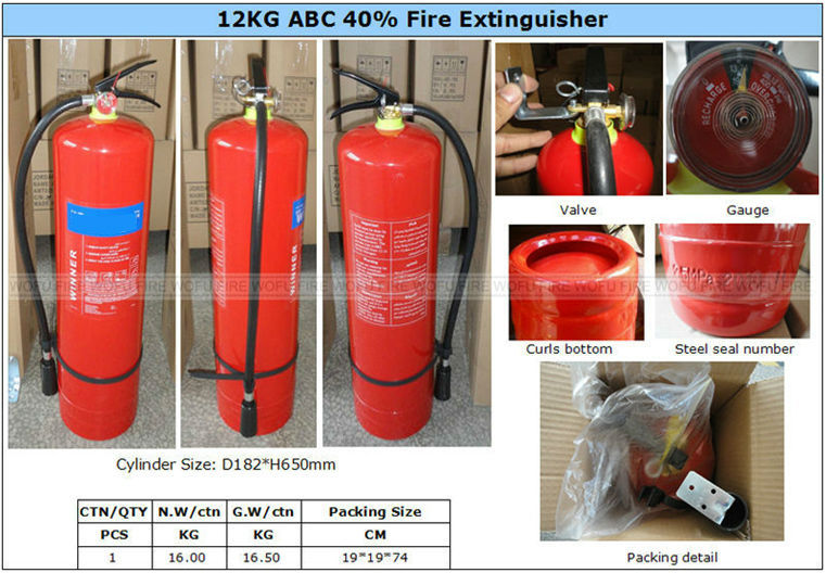 Stored Pressure ABC Dry chemical powder 40% Fire Extinguisher