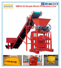 SINOSUN Simple Concrete Block Making Line-QMJ4-35 hot selling manual interlocking brick making machine