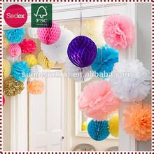 Artificial decorativa de papel de la boda pompones de flores