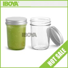 8oz Eco Tapered Glass Mason Jar with silver metal lid screw top