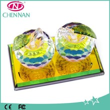 2015 Crystal Craft Gift Wholesale Cheap Christmas Crystal Apple