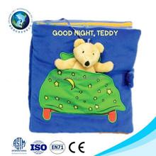 2015 Custom soft mini plush teddy bear puppet toy rag baby story book binding cloth cheap cute kids toy blue baby cloth book