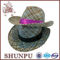 blue natural straw cowboy hat colorful baby cowboy hats