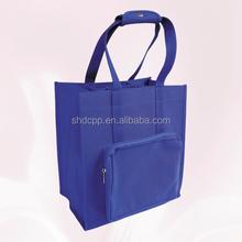 hot sale wholesale reusable blue non woven 6 bottle felt wine tote bag with zipper