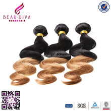 Brazilian wet and wavy weave 100% honey brown human hair extensions Body Wave T1b 30