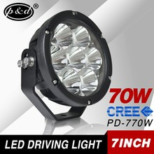 12v 24v 7 inch 70w Spot beam round motorcycle led offroad driving lights
