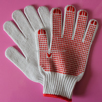White Cotton Work Gloves With PVC Dots