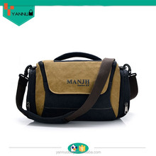2015 new design stylish promotional multi pockets ventilate style custom made canvas camera shoulder bag made in china