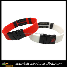 custom qr code barcode silicone id metal plate basketball bracelets