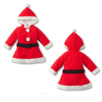 Fashion Clothes For Christmas Coral Fleece Baby Garment Little Girl Red Coat