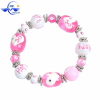 Breast Cancer Awareness Glass beaded jewelry, pink ribbon Breast Cancer Awareness bracelet MCR004