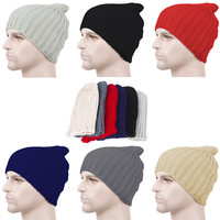 unisex solid plain winter ski knitted beanie hat