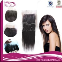 Top grade factory price indian remy natural straight three part lace closure