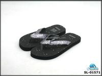 Black color PU upper fancy design girl flip flops EVA summer sandal