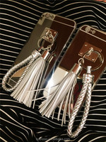 2015 Luxury metal silver mirror tassel phone case for iphone 5 5s 6 6plus