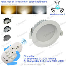 changeable color led downlight SAA/ce/rohs approved 12w smooth color change downlight, SAA dimmable led downlight