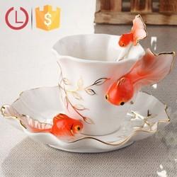 Enamel Porcelain material design goldfish for coffee tea cup saucer spoon