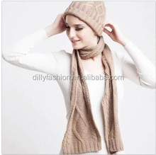 2015 knit cashmere beige color long scarf and beanie set