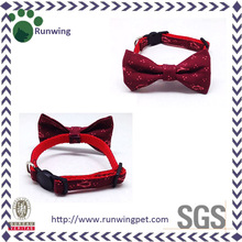 Fashional Claret Printed Canvas Dog Bow Tie Collar for Sale