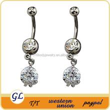 2014 fashion jewelry round zircon butterflies belly button rings gemstone jewelry