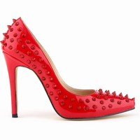 fashion design women high heel shoes with studs 2015
