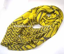 Wlhh629(31) 100% lemo de poliéster de gasa de color amarillo de chevron pañuelo musulmán hijab y