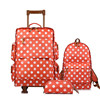 Orange Polka Dots Style Luggage Set Travel Bags Carry On Wheeled Duffle Tote Suitcases